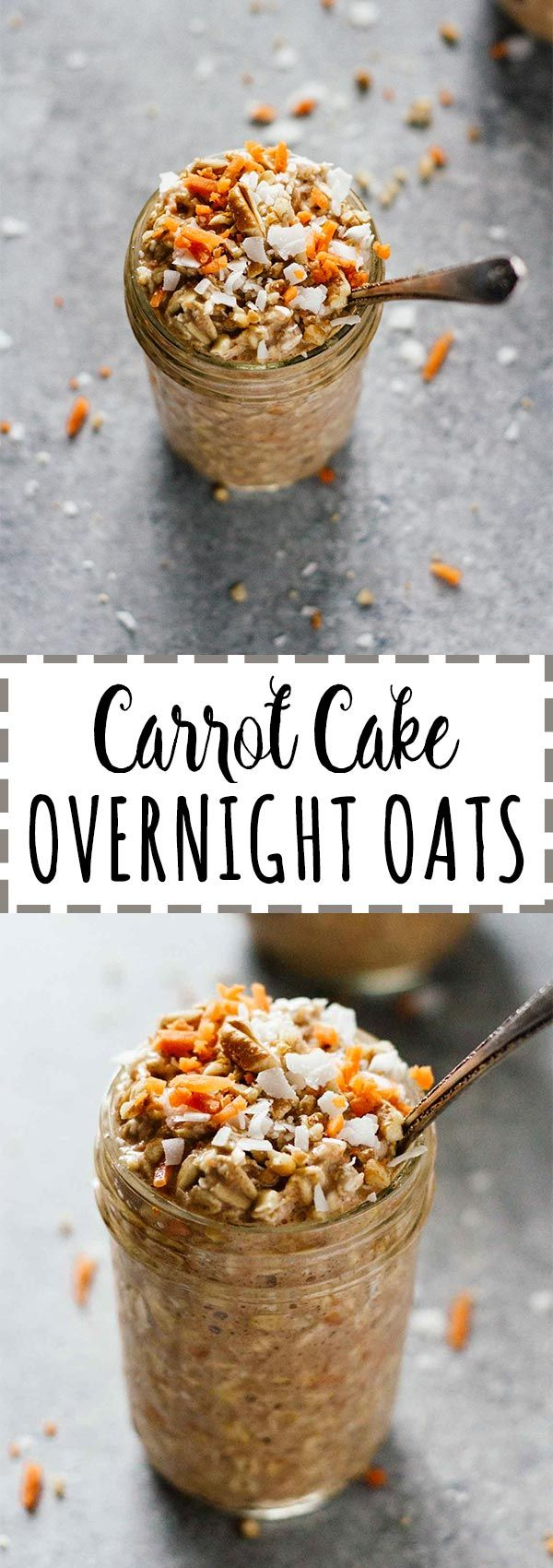 Carrot Cake Overnight Oats! Make these in about 5 minutes the night before, then take them on-the-go for breakfast in the morning! Vegan, vegetarian, gluten free, refined sugar free, and so easy. Love these!!