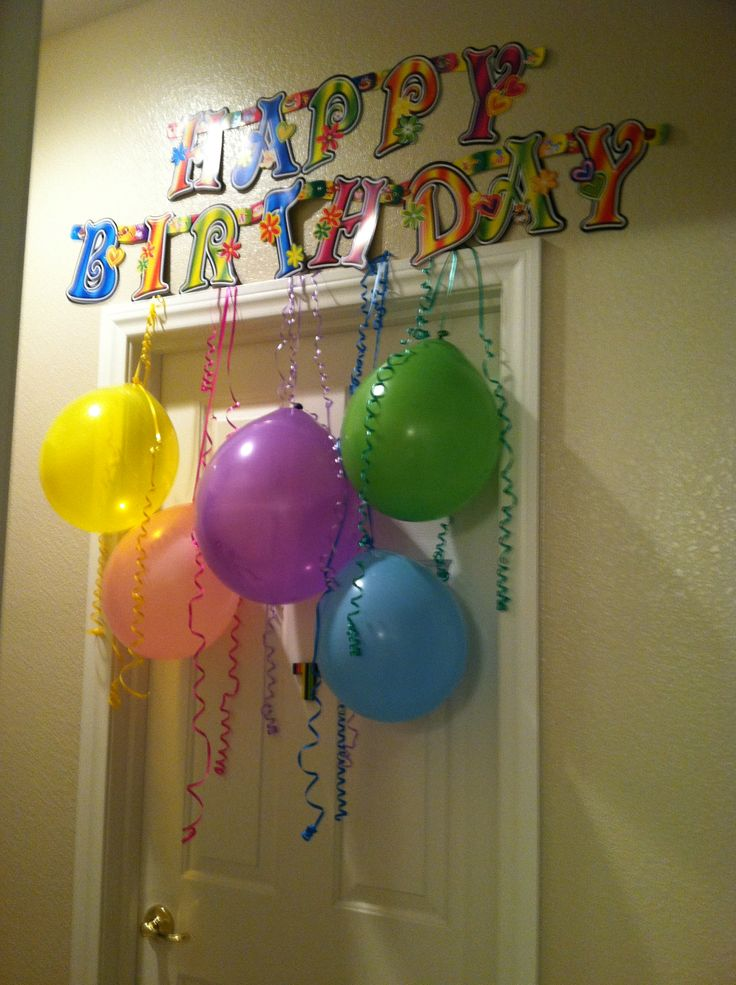 I decorated my daughter's bedroom door for a birthday morning surprise.  She's going to love it!
