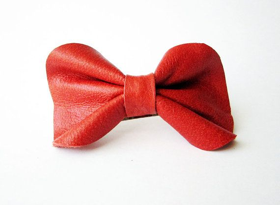 Leather hair bow barrette in RED red leather bow by Akamatra, $10.00