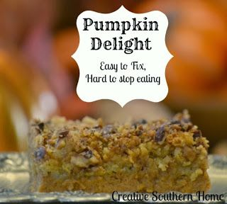 Pumpkin Delight.  Easy to make, hard to stop eating.  #Fall #pumpkin #cake | Creative Southern Home