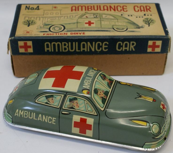 Tin Friction #4 Military Army Ambulance Car Modern Toys Japan (G26)