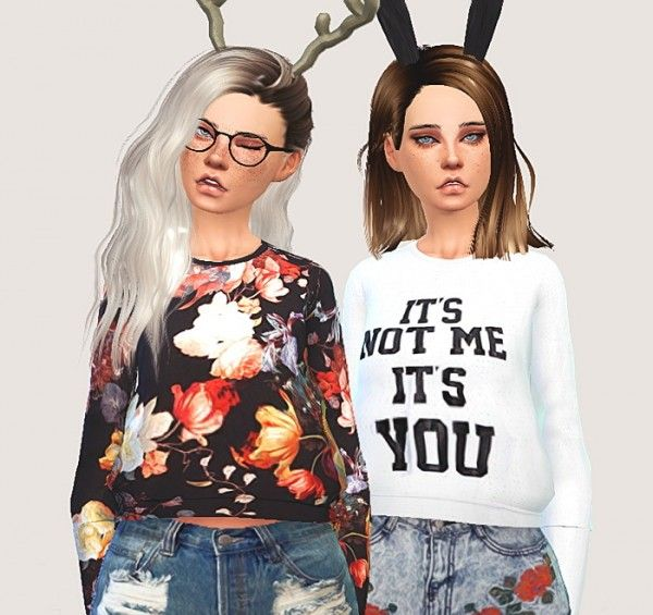 Pure Sims: Cropped sweatshirts • Sims 4 Downloads