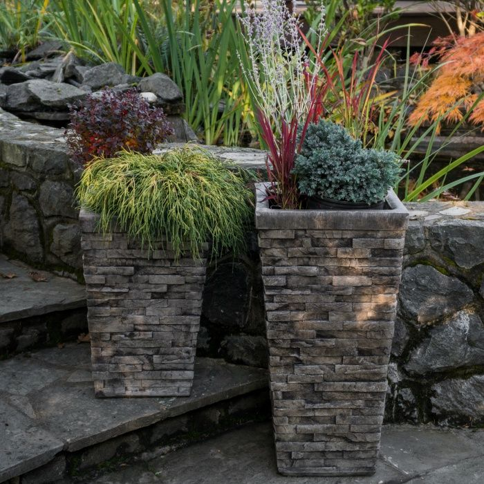 Stacked Stone Planter Large Stone Planters Large Planters Rock Planters