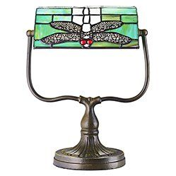 Tiffany Bankers Desk Lamp with Green Dragonfly Uniquely designed antique bronze tiffany bankers lamp with heavily weighted base. Features unique handmade stained glass green dragonfly shade which can be adjusted upwards and downwards. Includes int http://www.MightGet.com/january-2017-11/tiffany-bankers-desk-lamp-with-green-dragonfly.asp
