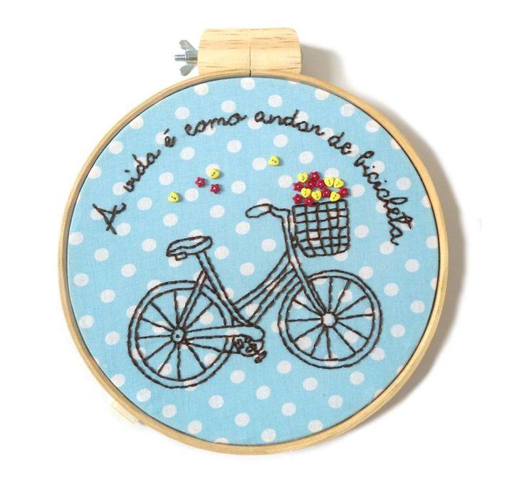 Quadrinho bastidor - Bicicleta - Ideia Fofa #hoopart #embroidery