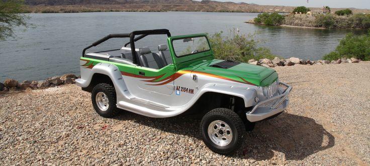 Автомобиль-амфибия Panther, созданный компанией WaterCar, обладает уникальной проходимостью и способен передвигаться со скоростью до 80 миль в час, после чего он может сходу форсировать реку на скорости до 44 миль в час. Автомобиль выглядит как обычный джип, тем более, что базой для него послужила модель Jeep CJ-8, хотя и серьезно переработанная.