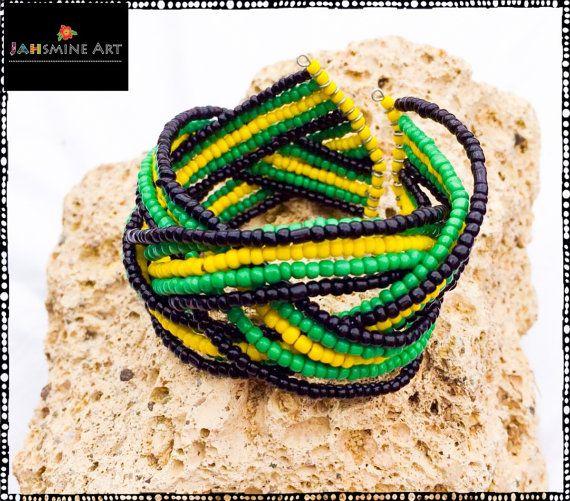 Jamaican Colors Bangle Bracialet Makeda Collection por JahsmineArt