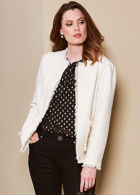 b17ca7af95d2 Petite Fringe Short Jacket #petite #fringe #jacket #elegance #winterfashion  #christmasparty #layering #white