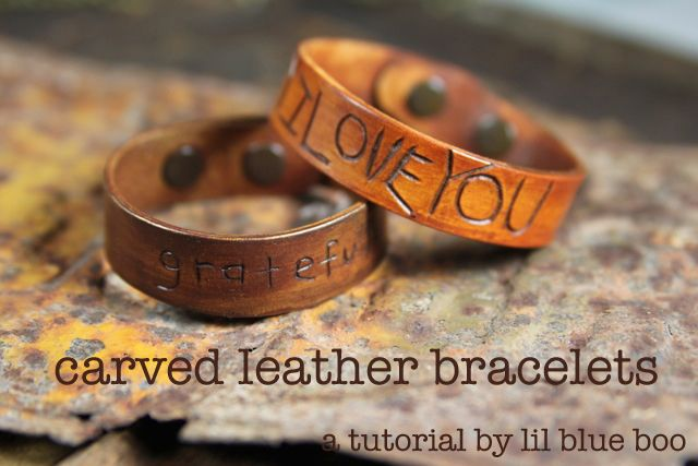 Hand-carved premade leather cuff bracelet for Dad. Lil Blue Boo has the tutorial.Cuffs Bracelets, Fathers Day Crafts, Giftideas, Gift Ideas, Belle Peppers, Diy Gift, Fathers Day Gift, Carvings Leather, Leather Bracelets