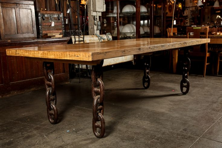 Bowling Alley Lane Butcher Block Table with Anchor Chain Legs image 10 Dining table