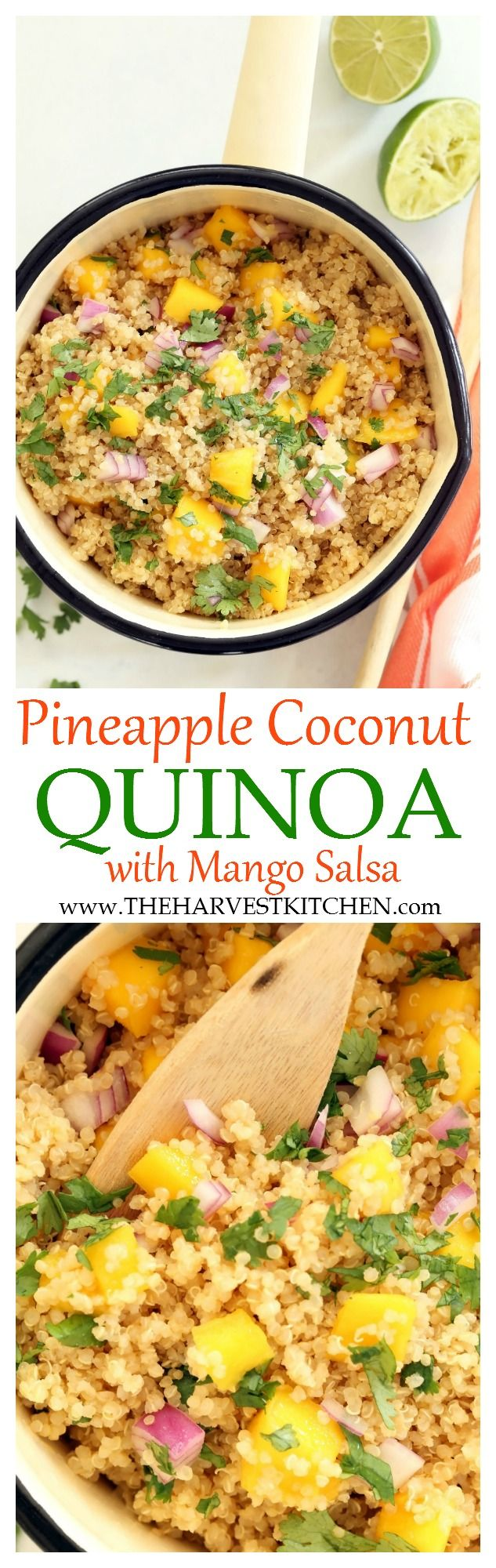 Enjoy this Pineapple Coconut Quinoa  alone or as a side dish to grilled chicken or fish.   The combo of flavors here is light and summery and fresh and luscious. And served with juicy ripe mango… amazing!    clean eating     healthy recipes     tropical quinoa     coconut quinoa     quinoa recipes  
