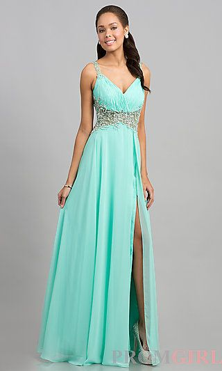 Shop SimplyDresses for floor length sleeveless prom dresses and long beaded  V-neck prom gowns. Long sleeveless beaded dresses with sheer waist.