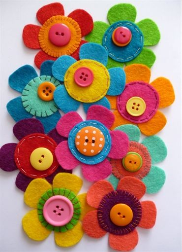paper-and-string. Felt Flower Craft Pack :: Brights