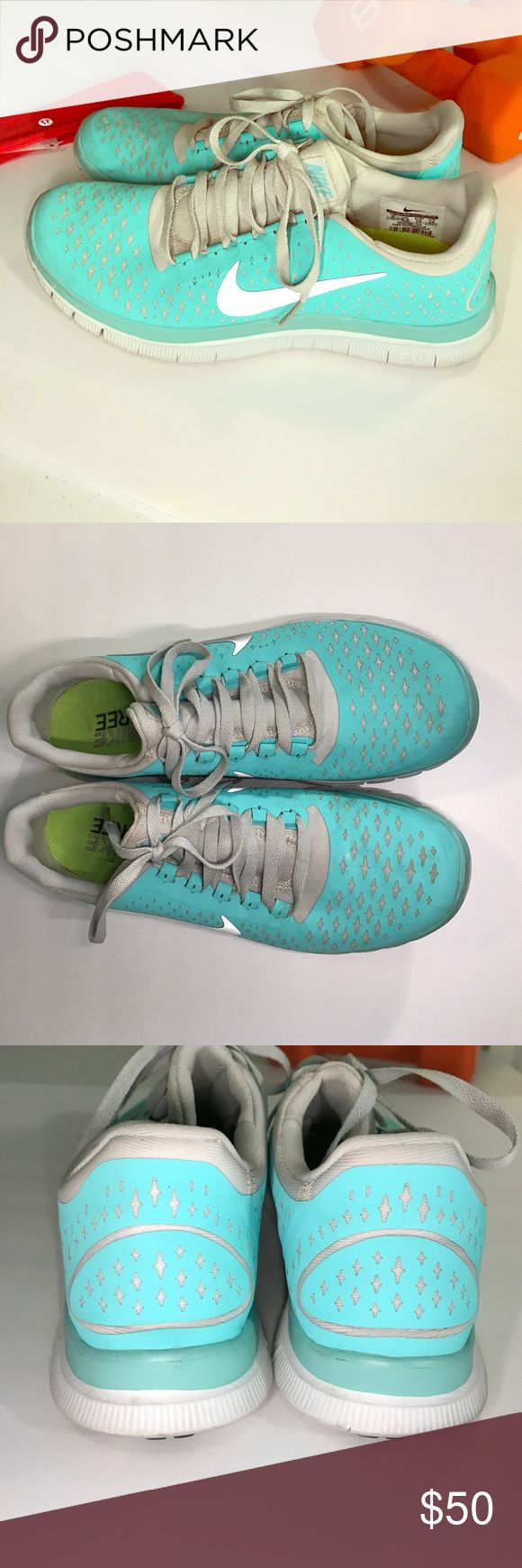 Tiffany Blue Nike Free run Tiffany Blue Nike Free run  Gently used about 2 or 3 times. GREAT condition.   Make an offer!  (*No original box, will ship in different shoe box) Nike Shoes Athletic Shoes