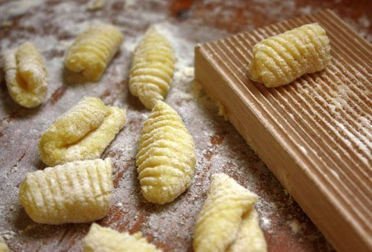 Gnocchi (from http://foodnouveau.com/2010/10/09/italy/how-to-make-gnocchi-an-illustrated-step-by-step-recipe/)
