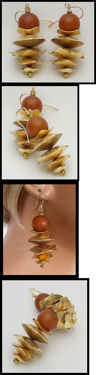 Earrings 98510: Tibetan Amber - Amber Resin Beads - Handforged Stacked Bronze Statement Earrings -> BUY IT NOW ONLY: $44 on eBay!