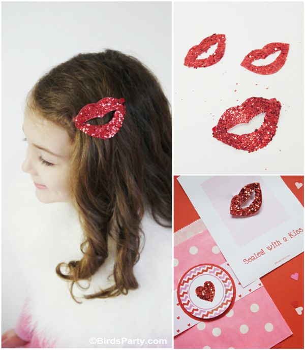 Sealed with a Glittered Kiss: DIY Valentine's Day Hair Accessory  (Bird's Party Blog:)