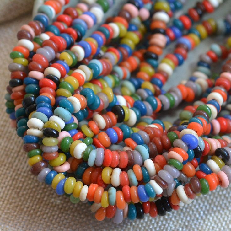 Multi Colored Indonesian Lamp Work Glass Spacer Beads, Mixed Color Glass Spacer Beads, Indonesian Glass Beads, One Strand, BB170127B