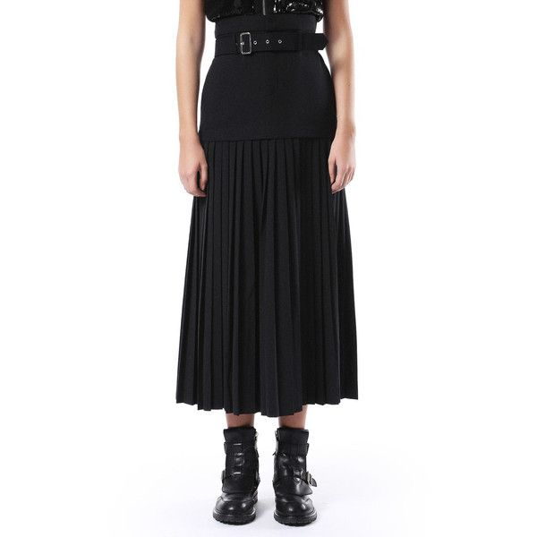 Diesel OLIVIER Skirt ($198) ❤ liked on Polyvore featuring skirts, black, diesel black gold, women, stretch skirts, stretchy skirt, pleated skirt, diesel skirts and knee length pleated skirt