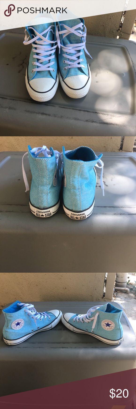 Heathered blue high top chucks. Lady 8 men 6! These like new high top converse can be brought back to new with a magic eraser easily. I would do this but they're too small for me anyhow! Converse Shoes Sneakers
