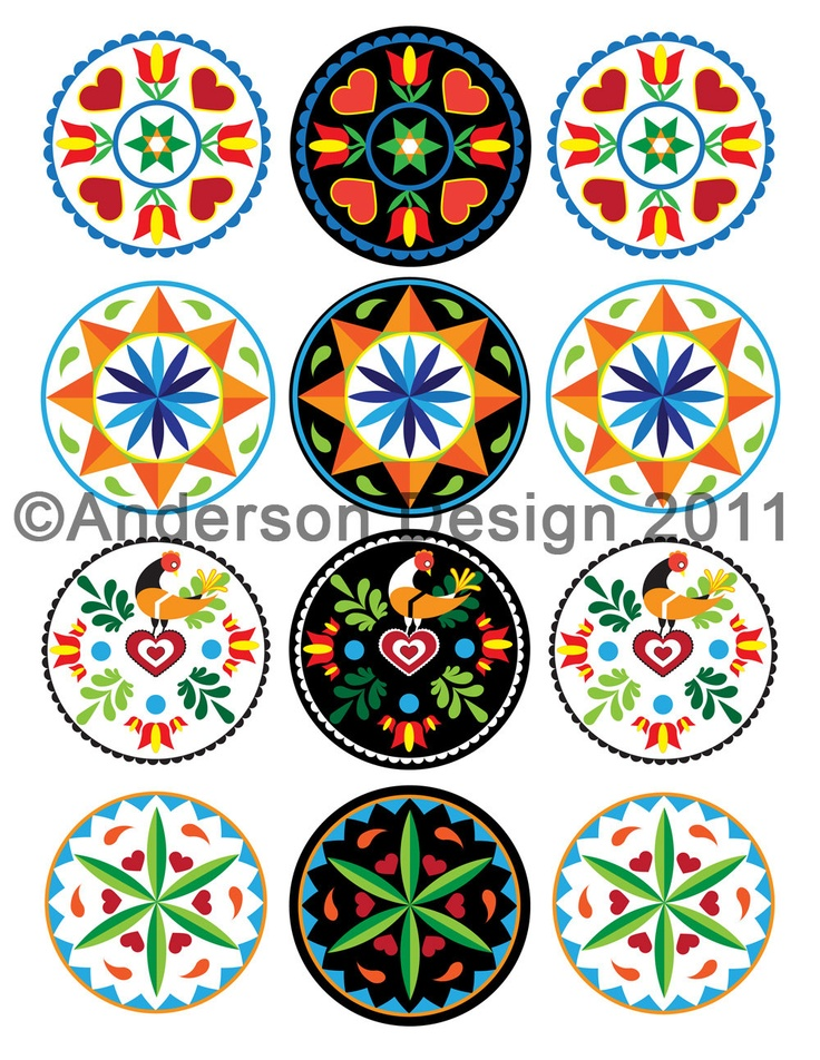 Pennsylvania Dutch Inspired, 2.5-inch round Hex Sign Printable Graphics - for Paper Crafts, Scrapbooking, Jewelry Design and Clip Art. $3.99, via Etsy.
