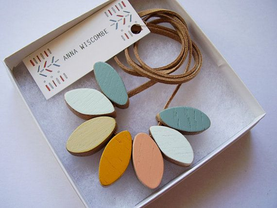 Wooden Necklace   Cornflower by AnnaWiscombe on Etsy, £28.00