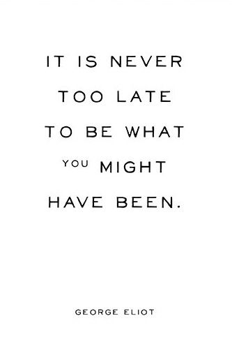 Inspirational Quote It Is Never Too Late Typographic Print George