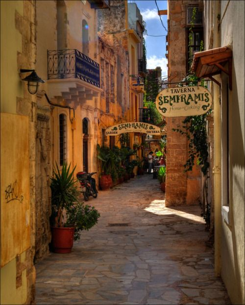 Alleys of the small picturesque town of Chania, Crete, Greece