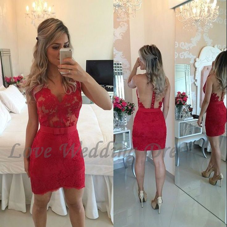 Red Sexy V Neck Short Prom Party Dress Lace Sheath Sleeveless Cocktail Dresses Above Knee Tulle Back See Vestido De Festa