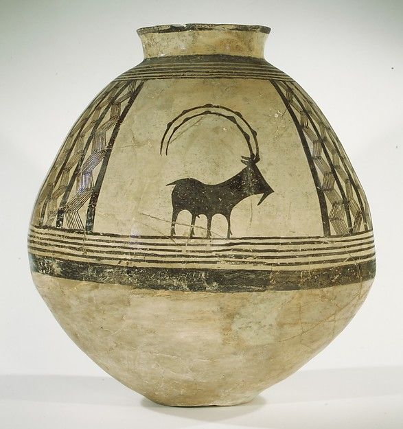 Storage jar decorated with mountain goats Chalcolithic Period 3700-3800 BC Iran #ceramics #pottery