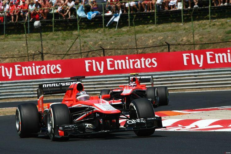Jules Bianchi leads Max Chilton, Marussia MR02 - 2013 Hungarian Grand Prix, Hungaroring #CiaoJules [2916x1944]