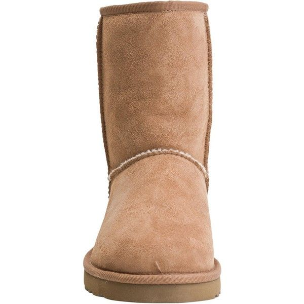 UGG Australia® Ugg classic short boot (425 PEN) ❤ liked on Polyvore featuring shoes, boots, ankle booties, ankle boots, stretch ankle boots, stretch boots, short boots and stretch booties