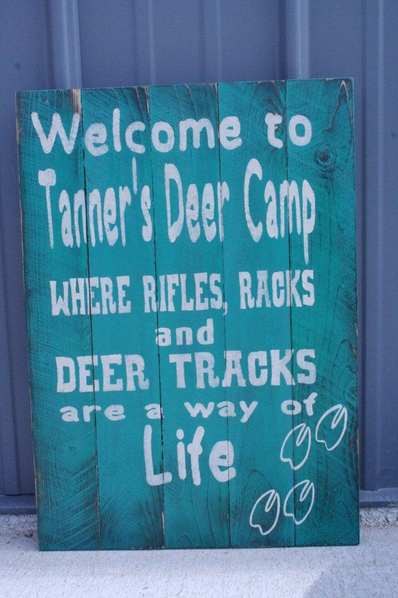 Rifles Racks and Deer Tracks Nursery Decor Boys Bedroom Sign Hunting Sign Pallet Sign Distressed Wood Handmade Handpainted Teal Decor
