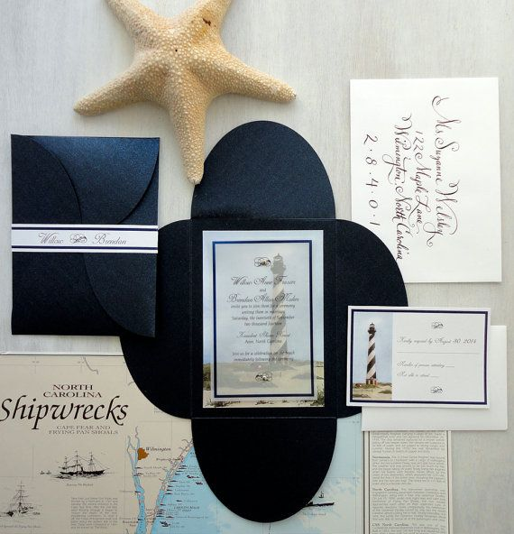 Hatteras Lighthouse wedding invitation by NooneyArt Designs #navywedding #outerbanks #hatteras