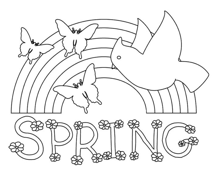 a rainbow of beautiful spring coloring pages - Printable Spring Coloring Pages