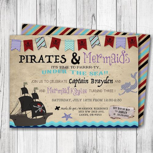 Pirate & Mermaid Birthday Invitation – Under the Sea Invitation – Pirate Birthday Invitation – Mermaid Birthday Party – Siblings or Single Child-