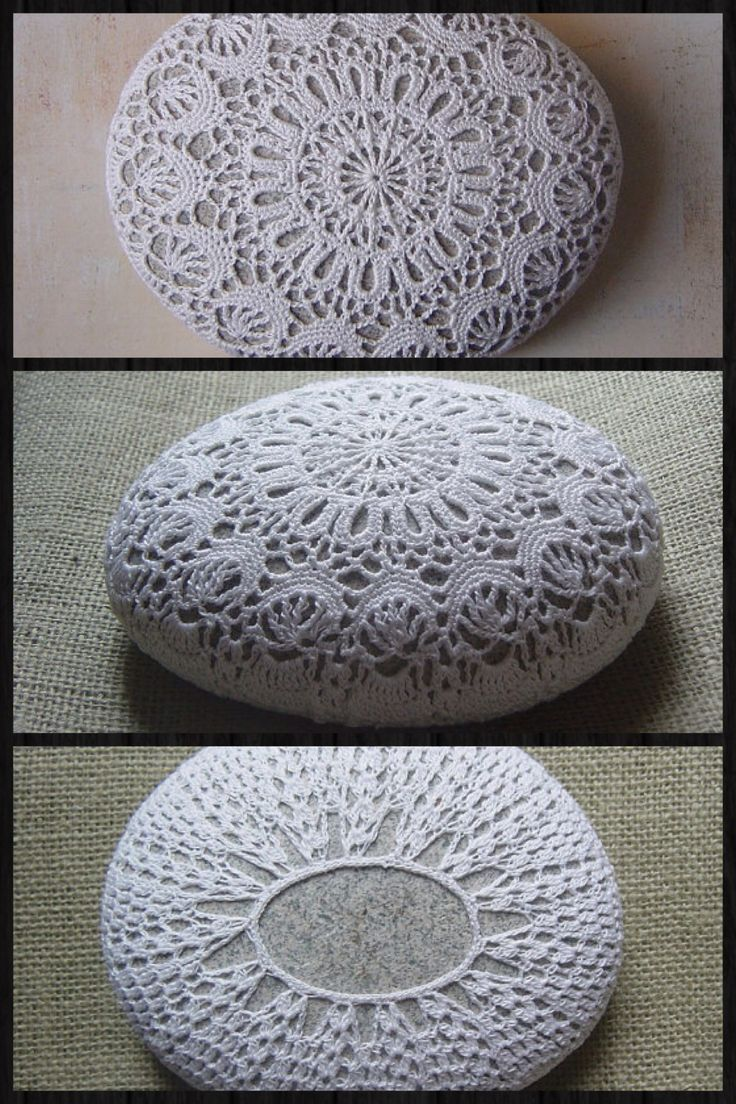 Crochet rock, stone doily cover inspiration.
