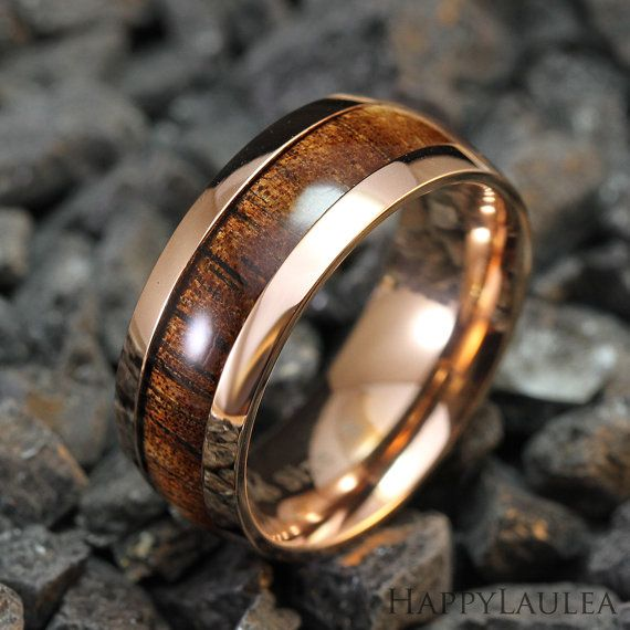Stainless Steel Ring with Koa Wood Inlay (8mm width, Rose gold IP, Barrel style)    Made with top grade 316L Stainless Steel, this ring features Koa