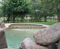 The camp has two six bed family bungalows, with three en-suite bedrooms each. One room is loft situated, and has its own patio. Kitchen/dining/bar areas are open plan in all the units, and living rooms have limited channel DSTV. A patio/braai area is also located on the bottom floor.