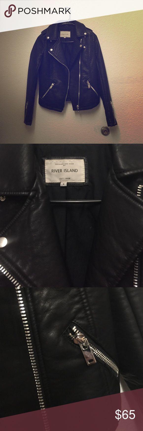 River island black zipper biker jacket Great style bought in London. Euro size 6 = US size 0 River Island Jackets & Coats
