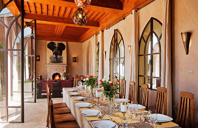 Dining room of the Marrakech Villa Palace