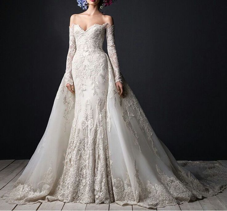 Luxury Lace wedding gowns Long Sleeve Sweetheart Detachable Train Bridal Dresses Floor length