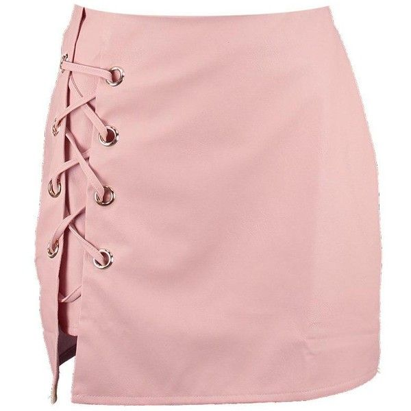 Boohoo Sofia Lace Up Side Leather Look Mini Skirt   Boohoo ($19) ❤ liked on Polyvore featuring skirts, mini skirts, faldas, pink skirt, pleated midi skirt, short pleated skirt, mini skirt and short skirts