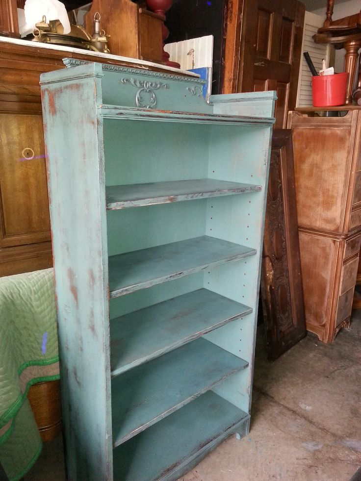 Dark seafoam green antique bookcase distressed for Reclaimed wood bookcase diy