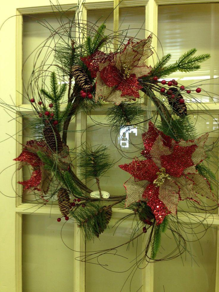 "LolaViola - Wreath:  Burlap/Pinecone/Berries 24"", $38.00 (http://lolaviola.co/wreath-burlap-pinecone-berries-24/)"