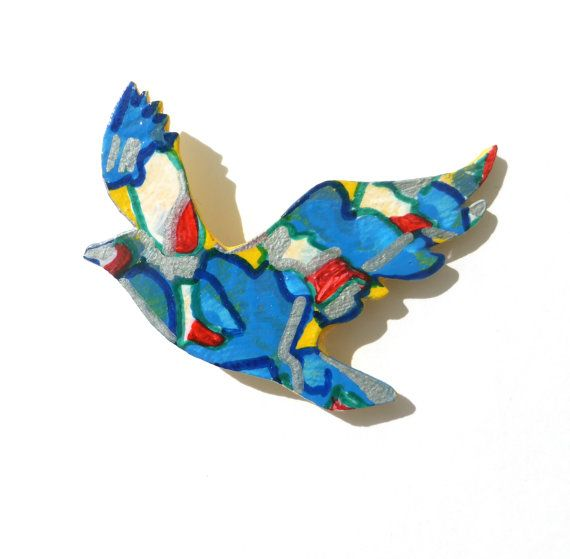 Flying Bird Brooch, Hand Painted Wood Brooch, Blue and Red and Yellow, Wearable Art, Original Handmade One of a Kind Art Jewelry, Abstract
