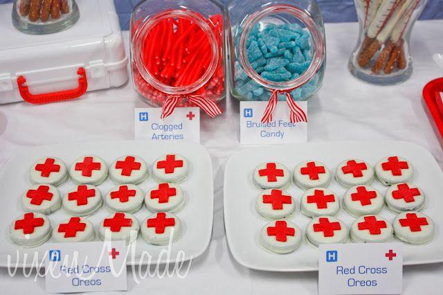red cross oreos. Med school or nursing school graduation party.