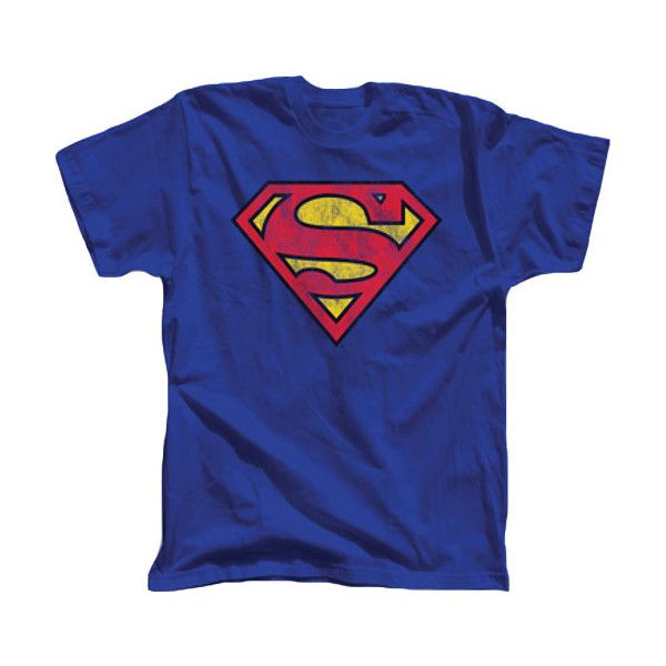 Superman Distressed Printed Logo Royal Blue T-shirt - Superman - Free... ❤ liked on Polyvore featuring tops, t-shirts, shirts, tees, royal blue t shirt, royal blue shirt, torn t shirt, logo t shirts and blue t shirt