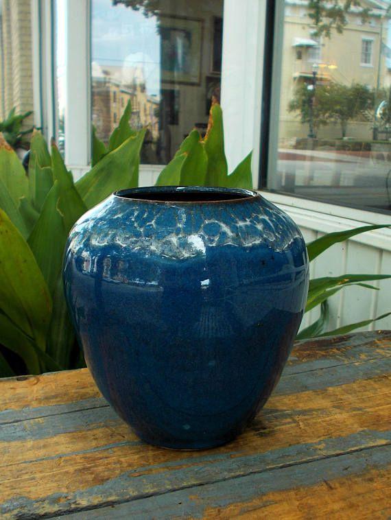 Blue Open Mouth Vase White Crazing Design /  Artist Signed
