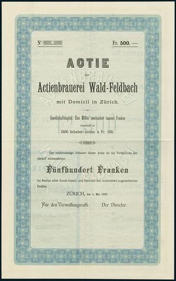 Lot 154 - Actienbrauerei Wald-Feldbach. Aktie Fr. 500. Zürich, 1. Mai 1890. Blau/blaugrün. Blankett.